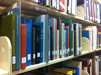 Art books on library shelf