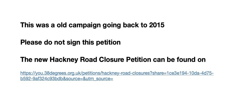 Stop the proposed Road Closures Hackney London Fields Ward