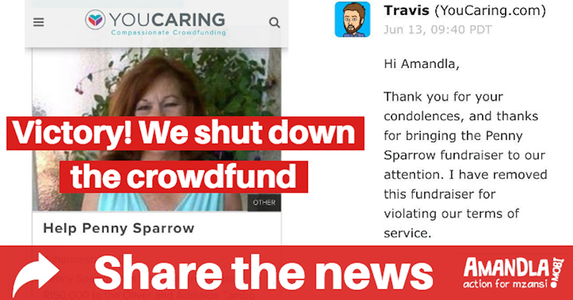 VICTORY: Don't allow crowdfunding campaigns for Penny Sparrow