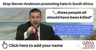 Stop Anderson promoting hate speech in South Africa