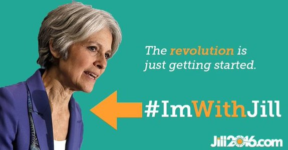 """I'll vote for Jill if you will"" pledge campaign to elect Jill Stein president."
