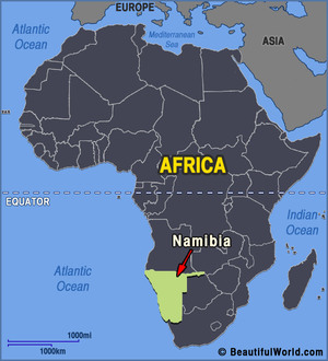 Namibia africa map