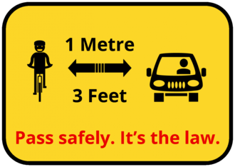Define one metre as the minimum clearance to overtake a bicycle in British Columbia