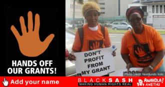 Black sash hands off our grants