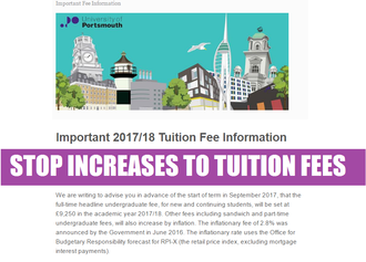 Keep University of Portsmouth's fees at £9000