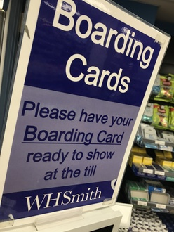 Boarding passes at airport shops