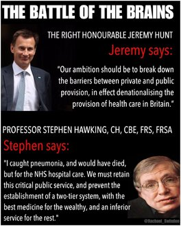 A public debate on the future of the NHS; Jeremy Hunt Vs Stephen Hawking