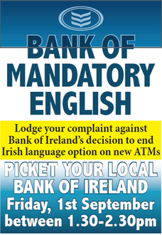 Calling on Bank of Ireland to reverse the decision to delete the ATM Irish Language Option