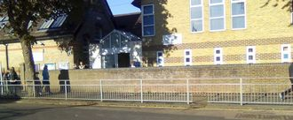 No Parking Zone & Zebra crossing outside All Souls School Cheriton