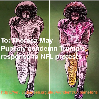 Publicly condemn Trump's response to NFL protests