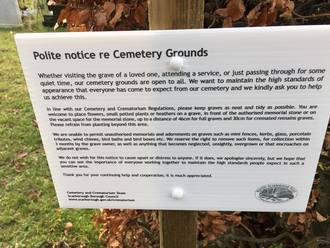 Scarborough Council, allow flexibility over the rules on what is permitted on children's graves