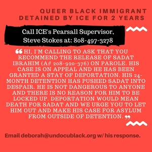 #FREESADAT: Demand the release of a Gay Black Asylum Seeker from Detention