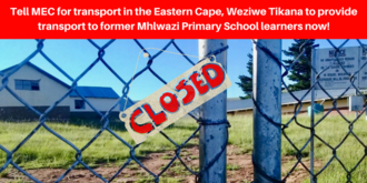Provide transport to former Mhlwazi Primary School learners now!