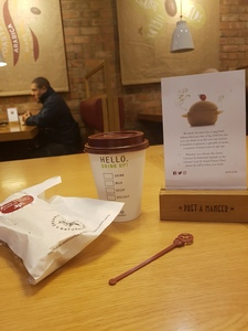 #StirCrazy: Pret a Manger:  free plastic stirrers/stoppers - why?!