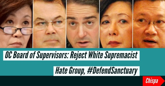 OC Board of Supervisors: Reject White Supremacist Hategroup, Defend Sanctuary