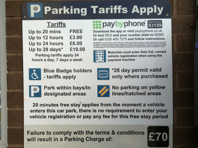 N.H.S HOSPITAL CAR PARKING CHARGES