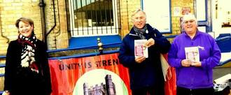 Jo campaigning in defence of rail services