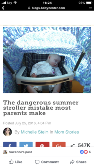 For parents to stop putting blankets over baby prams