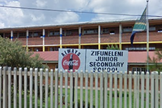 Sign to demand healthy food for Zifuneleni Junior Secondary School