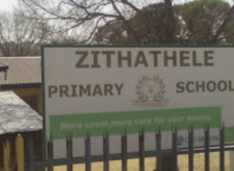 Sign to demand healthy food for Zithathele Primary School