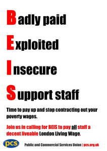 BEIS: End poverty wages and the contracting out of government support services