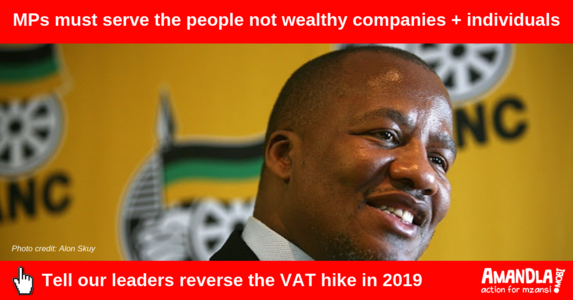 Call on ANC to support reversing the VAT hike in 2019