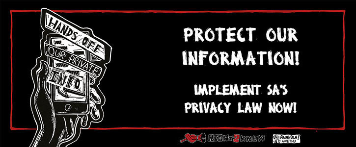 Protect our private info! Implement SA's privacy law!