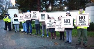 Ballysax quarry protestors in leinster house yesterday