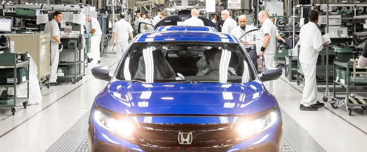 Honda Civic on the production line at Swindon. Photo: Honda