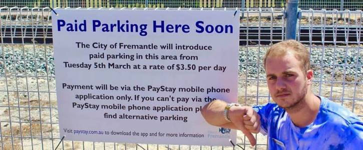 Reverse paid parking on Marine Terrace