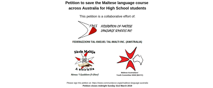 Petition to defer the loss of the VCE for the Maltese Language (including HSC & SACE)