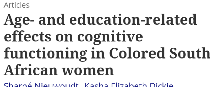Letter to the Editorial Board of Aging, Neuropsychology and Cognition