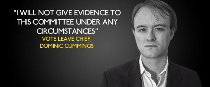 Dominic Cummings must face the parliamentary committee to answer questions on the leave campaign