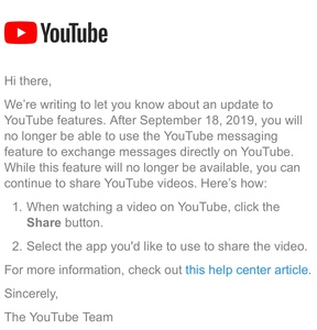 YouTube messages