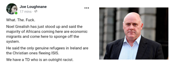 Noel Grealish TD Must Clarify and Apologise for Racist Comments