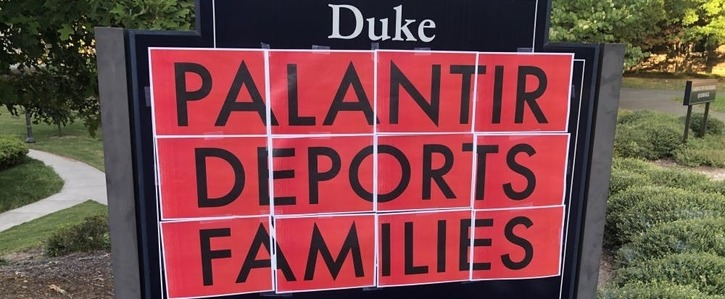 Tell Duke Admin to drop Palantir