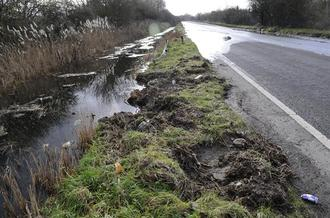 New drainage and flood warning signs at A256 next to Pegwell Bay Country Park
