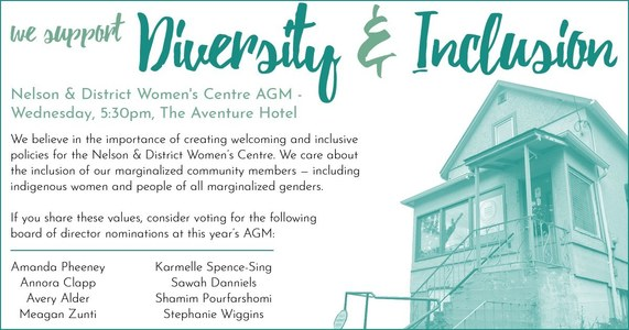 Support Diversity and Inclusion at the Nelson & District Women's Centre