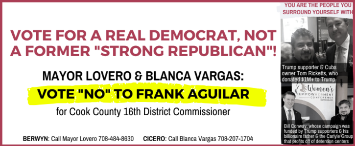 "Vote for a real Democrat, not former ""Strong Republican"" Frank Aguilar!"
