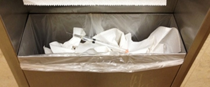 Install sharps disposal boxes in Wal-Mart bathrooms