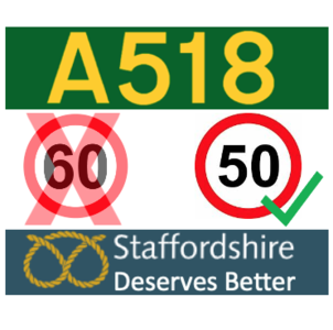 Reduce the speed limit on the A518 (Stafford to Newport)