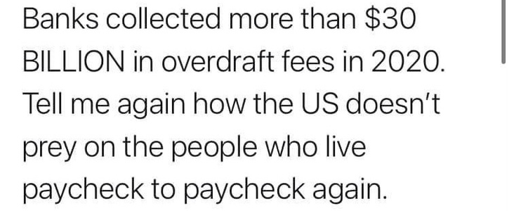 Executive order to stop all overdraft fees from all banks who charge them