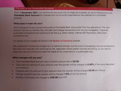 Bank charges for Community and Charity organisiations
