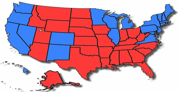 Split the United States into Red & Blue