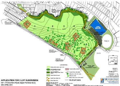 Approve the proposed 5 lot subdivision & creation of a Council Reserve at 157-173 Glenfern Rd UFTG