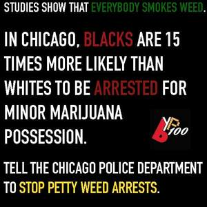 End Chicago Police Department's unjust arrest of Black Chicagoans for low-level marijuana possession