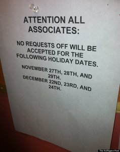 Shorter shifts on Thanksgiving and Black Friday.
